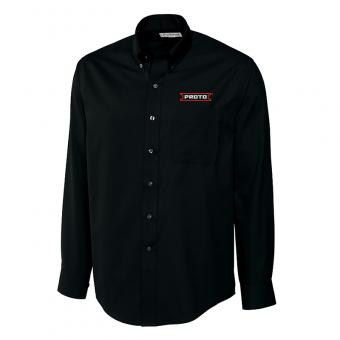 Proto Men's Cutter & Buck Long Sleeve Fine Twill Shirt - Black