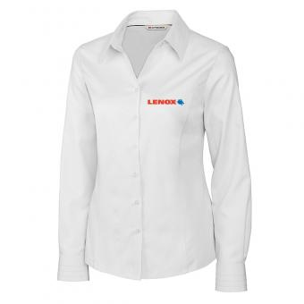 Lenox Women's Cutter & Buck Long Sleeve Fine Twill Shirt - White